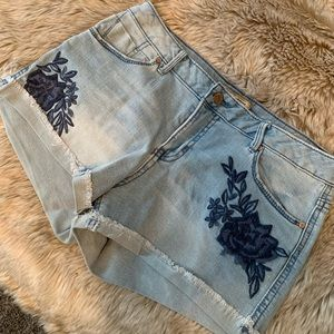 Embroidered jean shorts